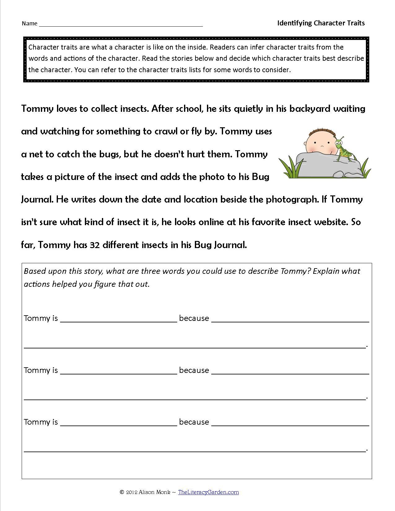 Character Traits Worksheet 2nd Grade Identifying Character Traits In Literature