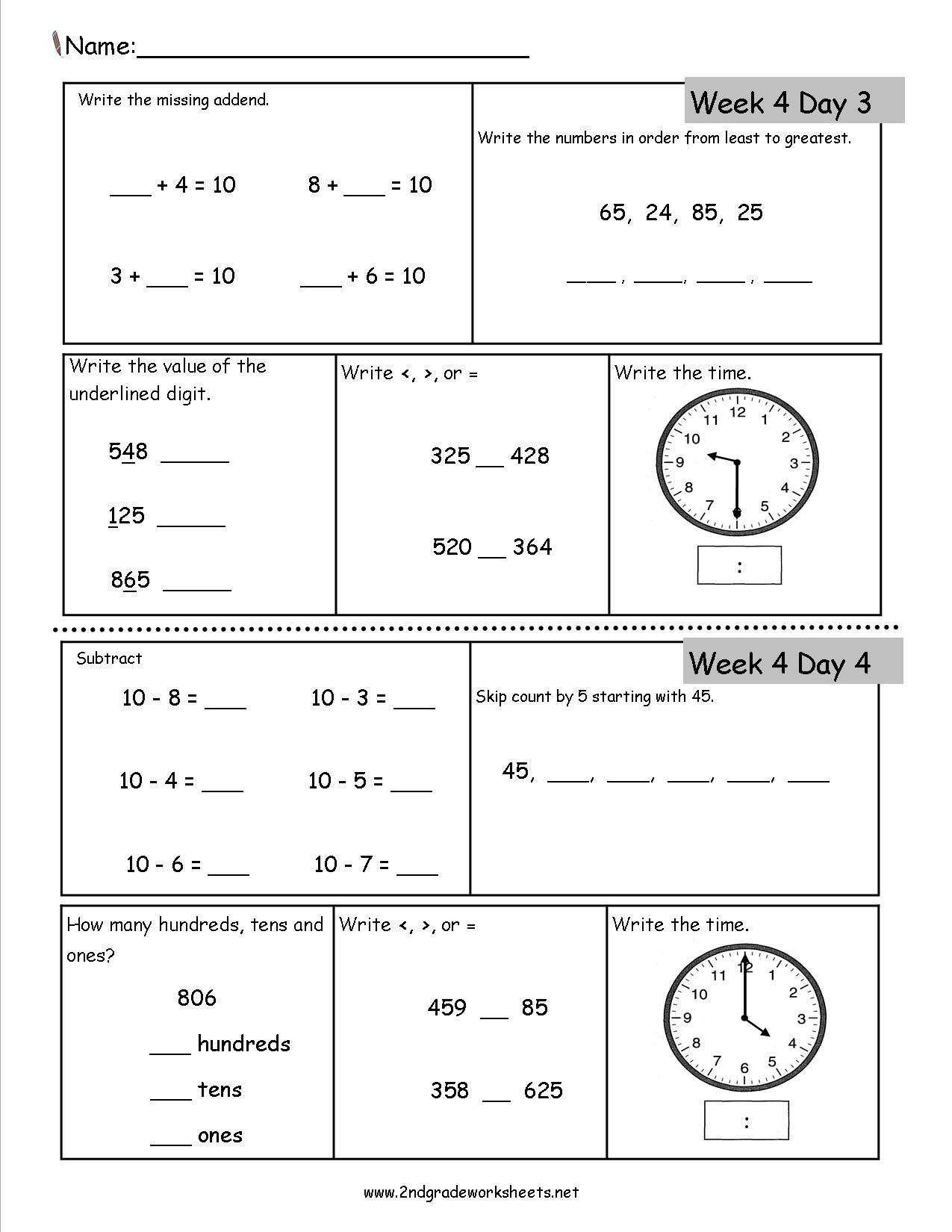 Ck Worksheets for 2nd Grade Free 2nd Grade Daily Math Worksheets Mon Core Second