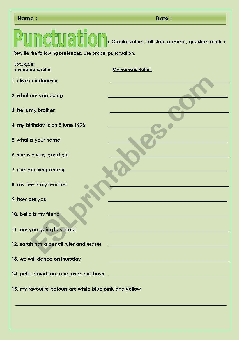 Comma Worksheets High School Pdf Punctuation Esl Worksheet by Bhaby