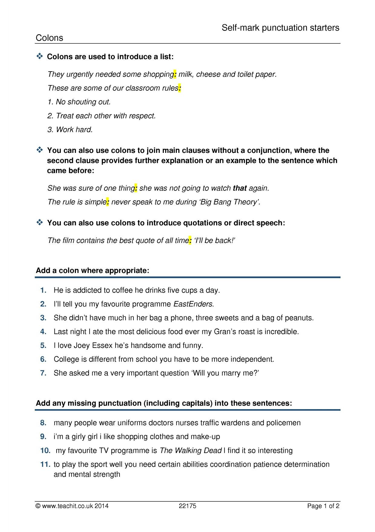 Comma Worksheets High School Pdf Spag Punctuation Collection Teachit English