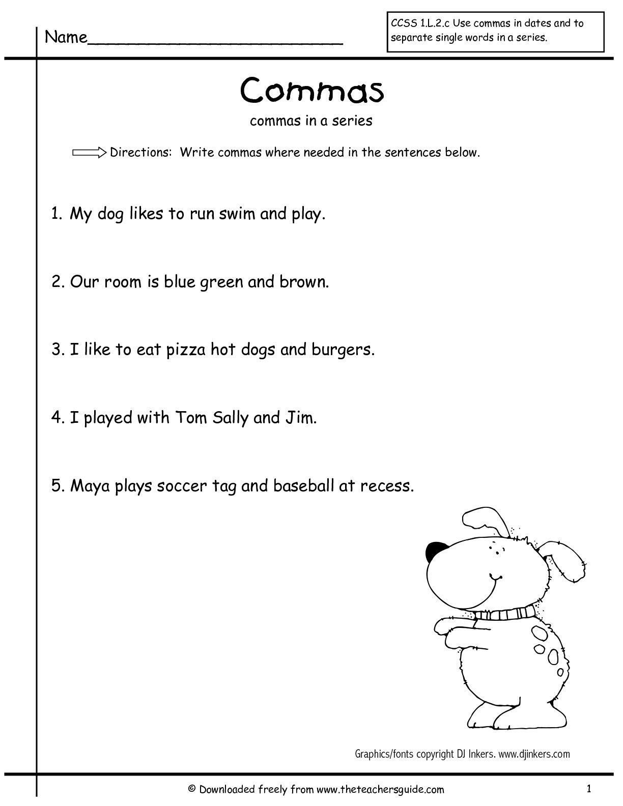 Comma Worksheets High School Pdf Using Mas In A Series Worksheet First Grade Google