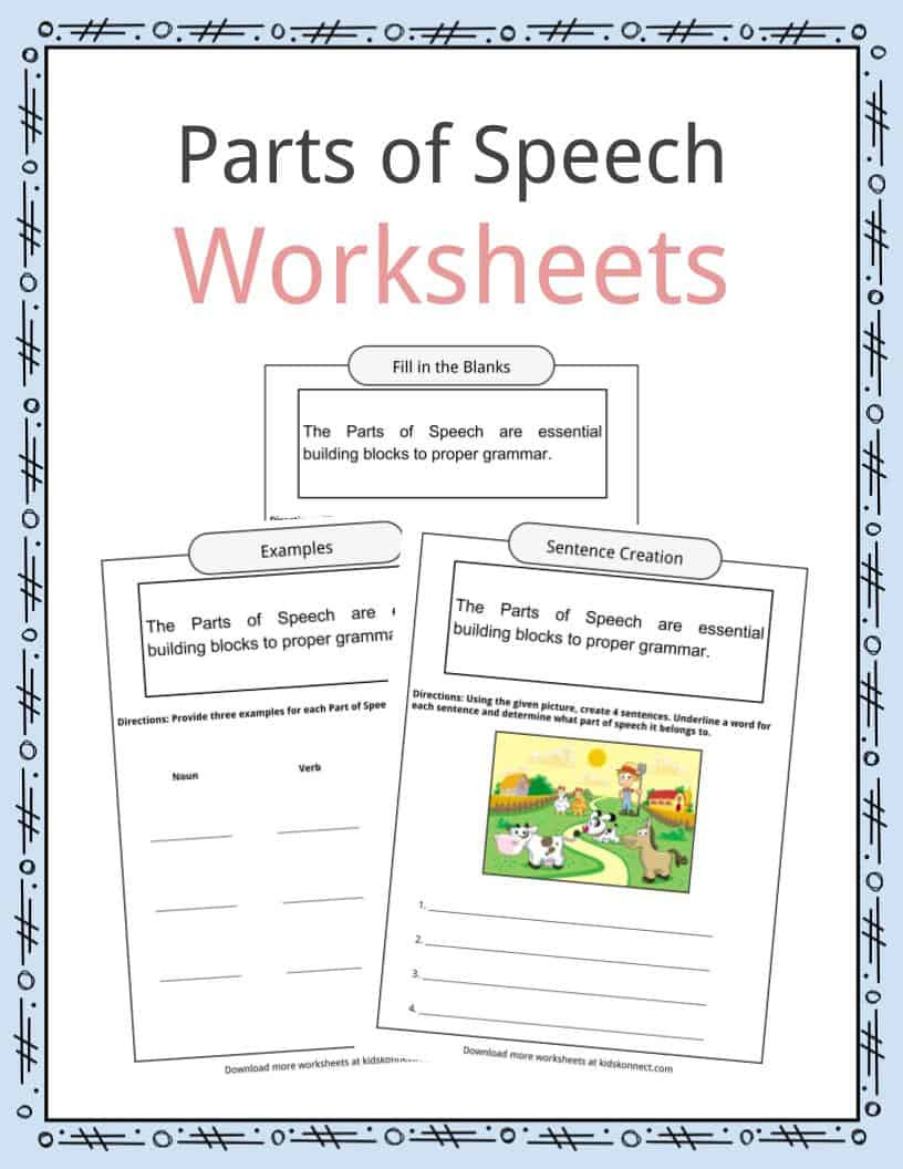 Commas Worksheet 3rd Grade Parts Of Speech Worksheets Examples & Definition for Kids