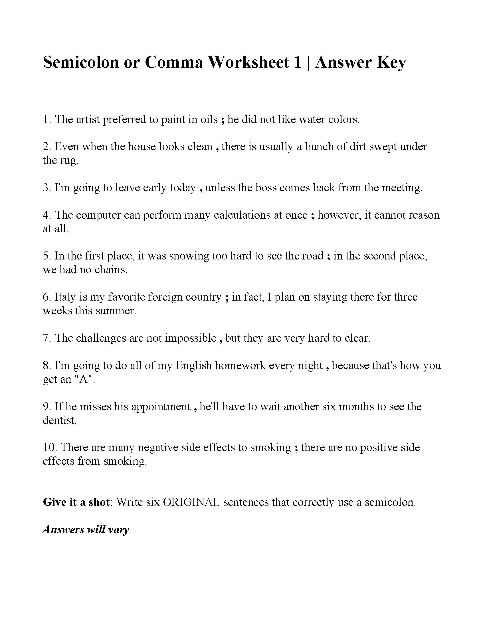 Commas Worksheet 5th Grade Semicolon Grammar Worksheets
