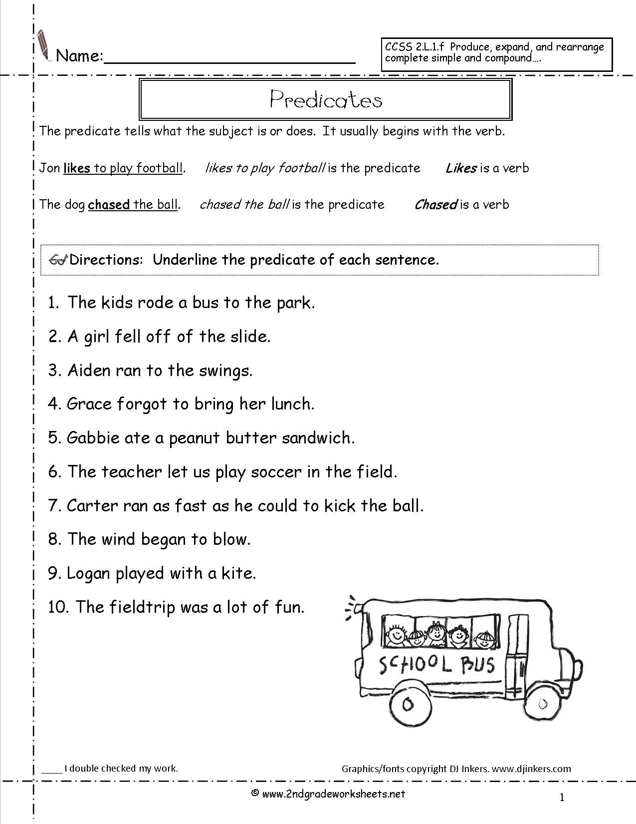 Complete Sentence Worksheets 3rd Grade Subject and Predicate Sentences Worksheets for 3rd