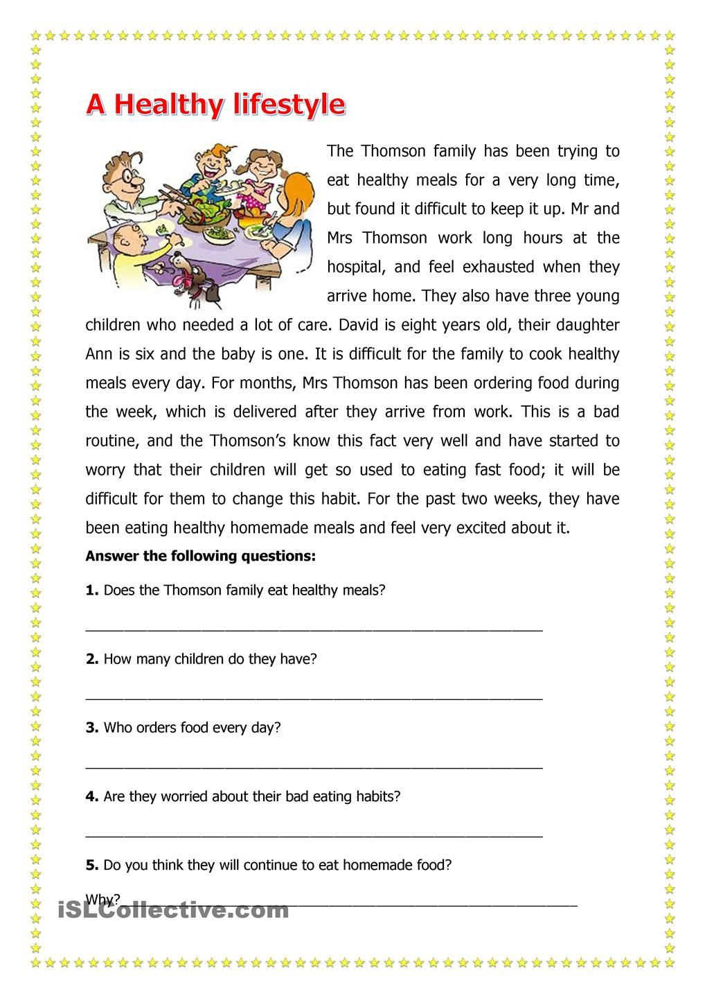 Comprehension Worksheets for Grade 6 A Healthy Lifestyle