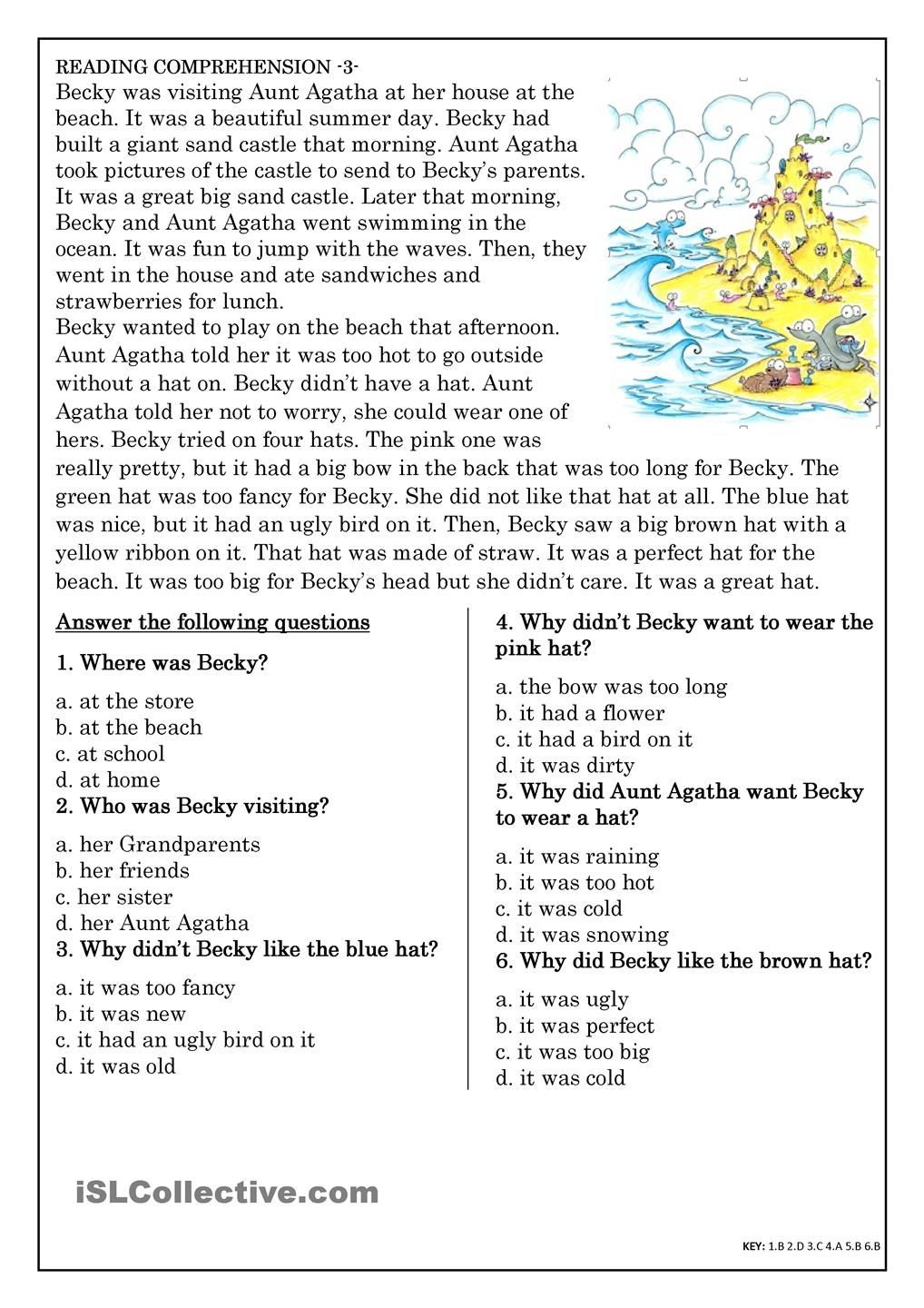 Comprehension Worksheets for Grade 6 Reading Prehension for Beginner and Elementary Students 3