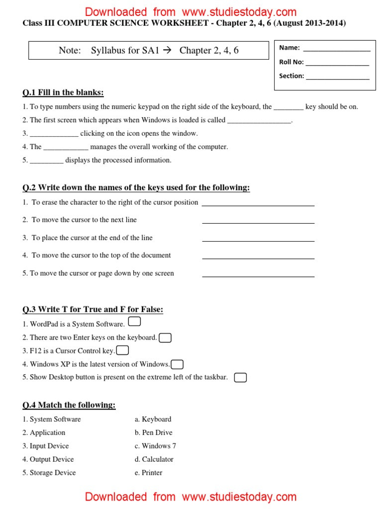 Computer Worksheets for Grade 1 Cbse Class 3 Puter Practice Worksheet 11 with Answers