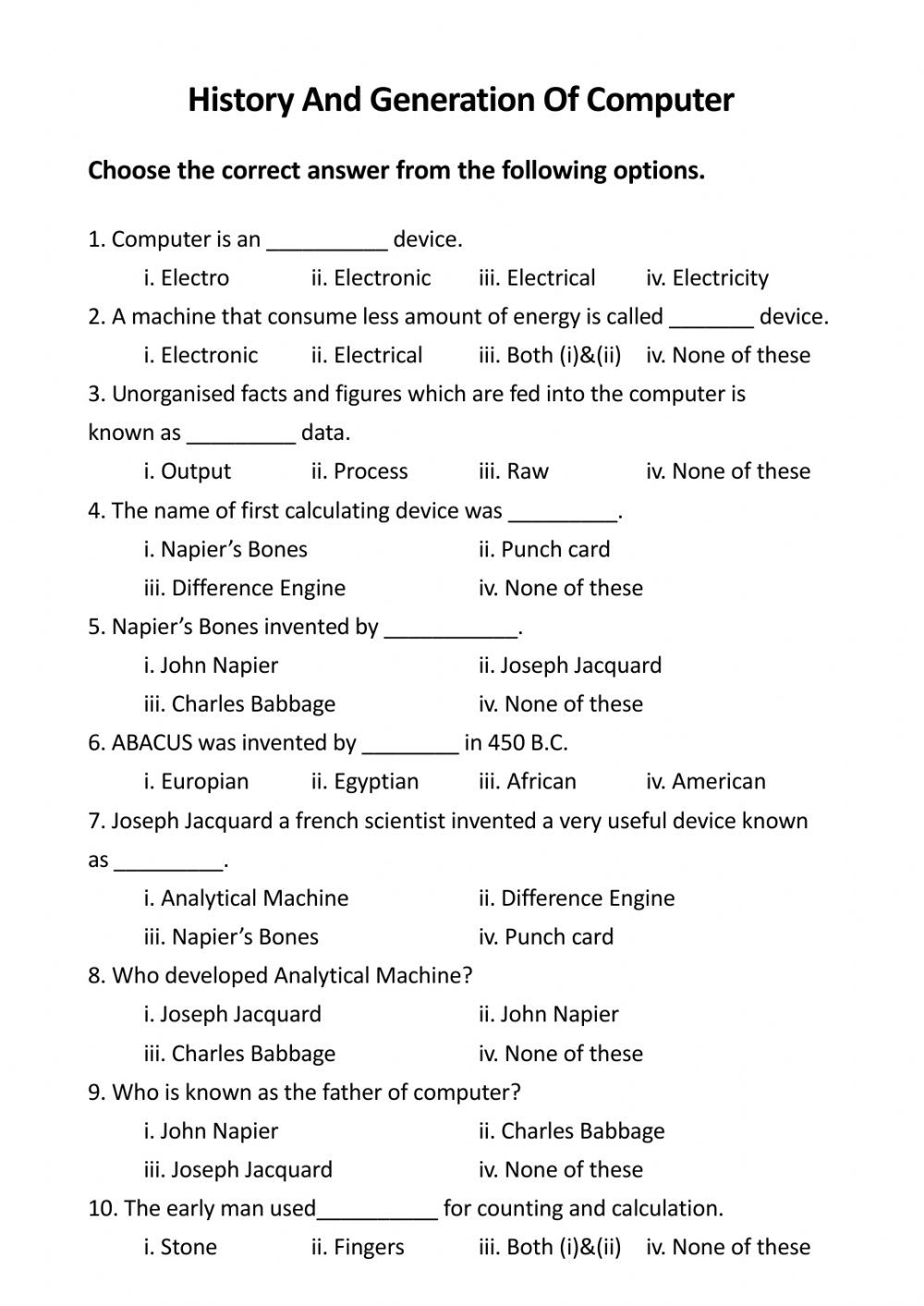 Computer Worksheets for Grade 1 Class 6 Puter Worksheet Part 1 Interactive Worksheet