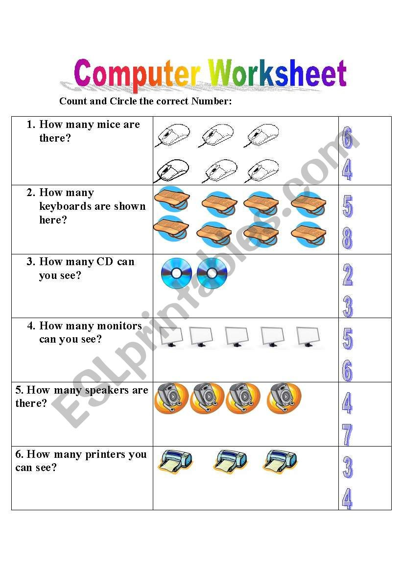 Computer Worksheets for Grade 1 English Worksheets Puter Worksheet Lesson Arithmetic
