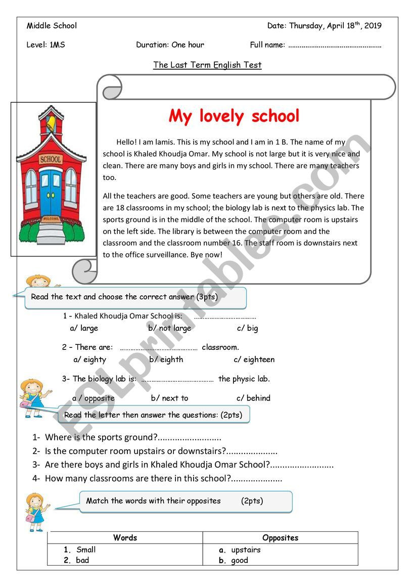 Computer Worksheets for Middle School My Lovely School Esl Worksheet by Preciousme