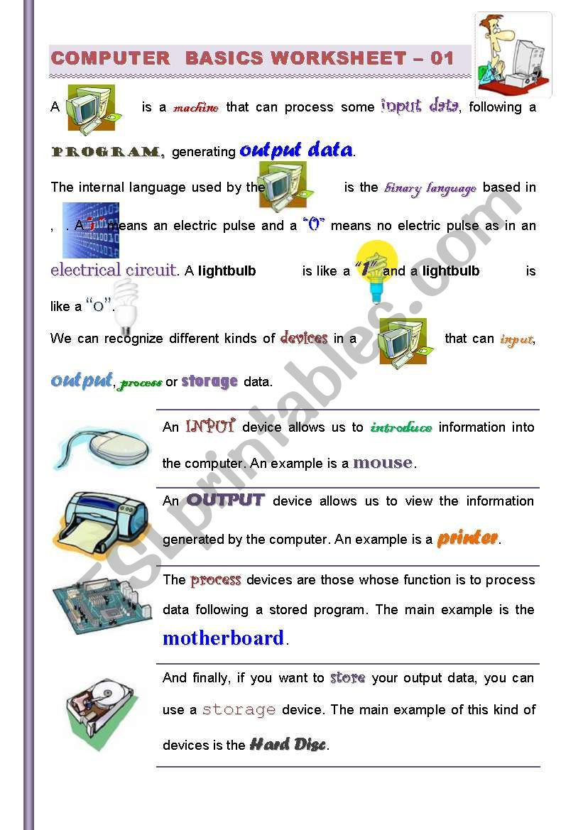 Computer Worksheets for Middle School Part Puter Basics Getting Familiarized with Puters for
