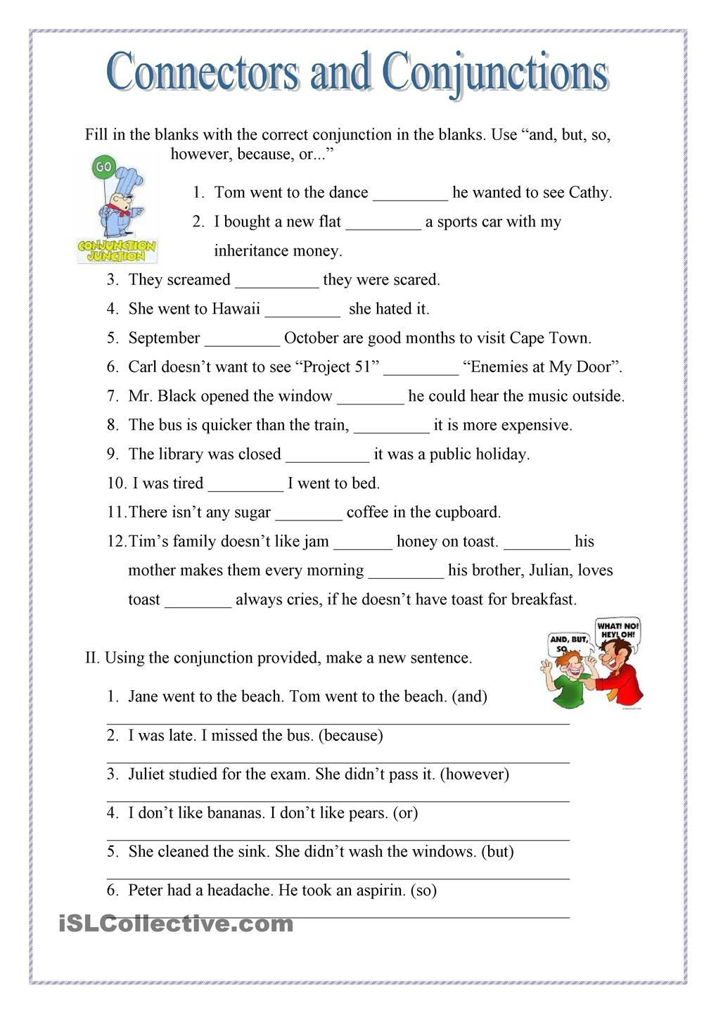 Conjunction Worksheet 5th Grade Conjuctions and Connectors