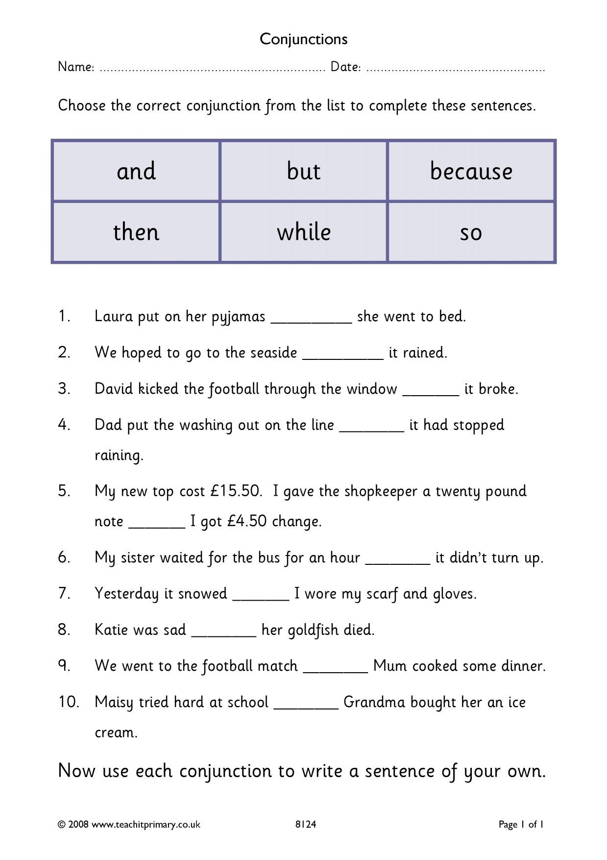 Conjunction Worksheets 6th Grade Conjunctions – Cloze