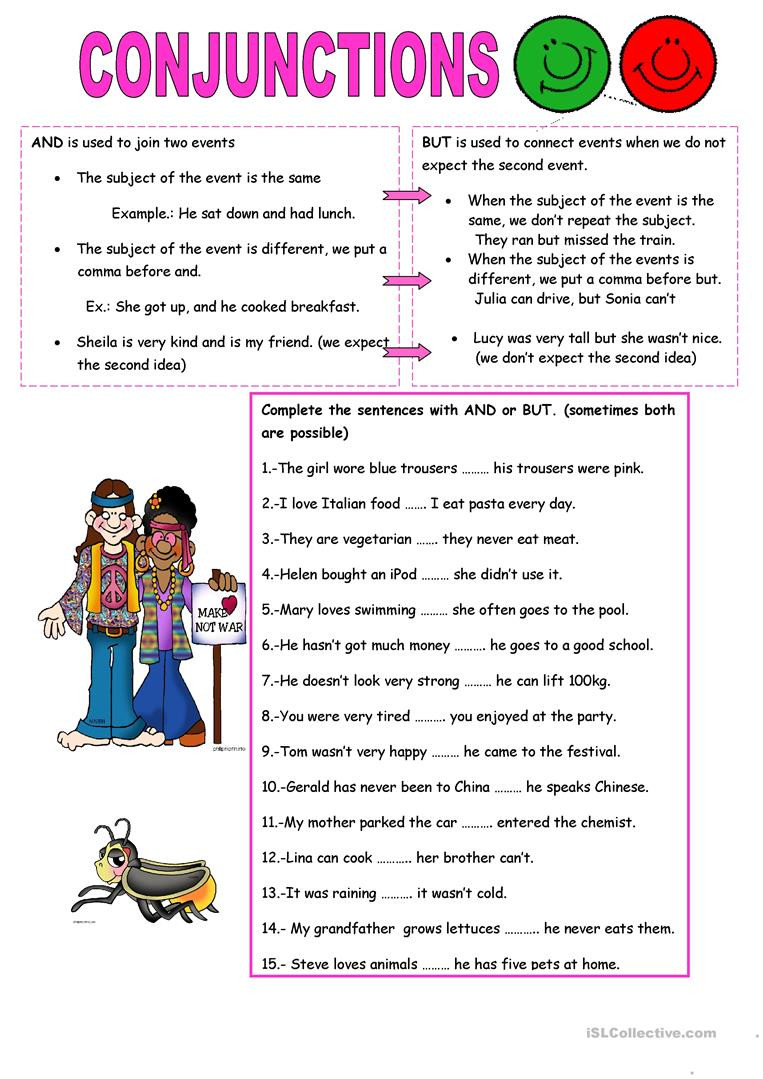 Conjunctions Worksheets 5th Grade Conjunctions and but English Esl Worksheets for Distance