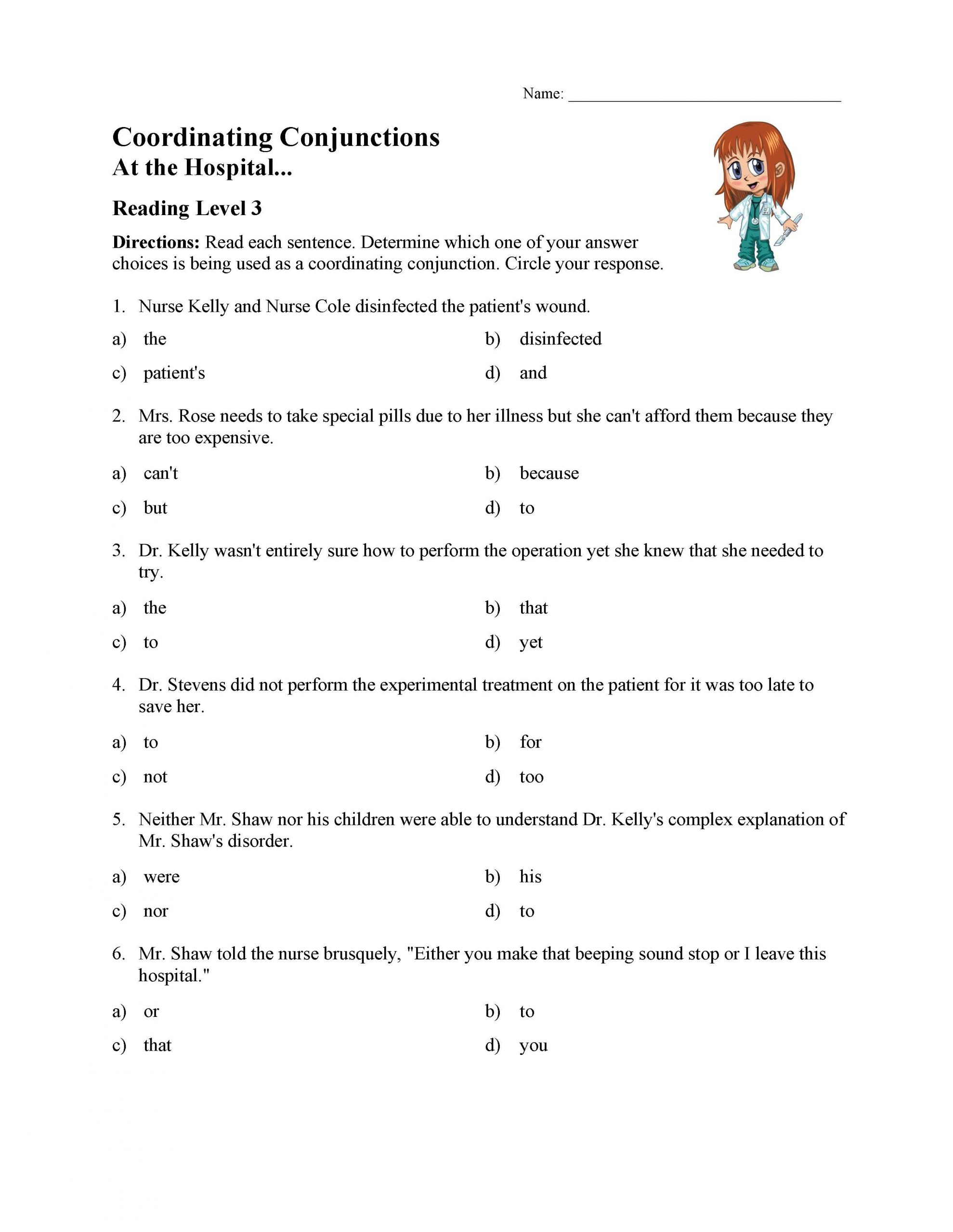 Conjunctions Worksheets for Grade 3 Coordinating Conjunctions Worksheet Reading Level 3
