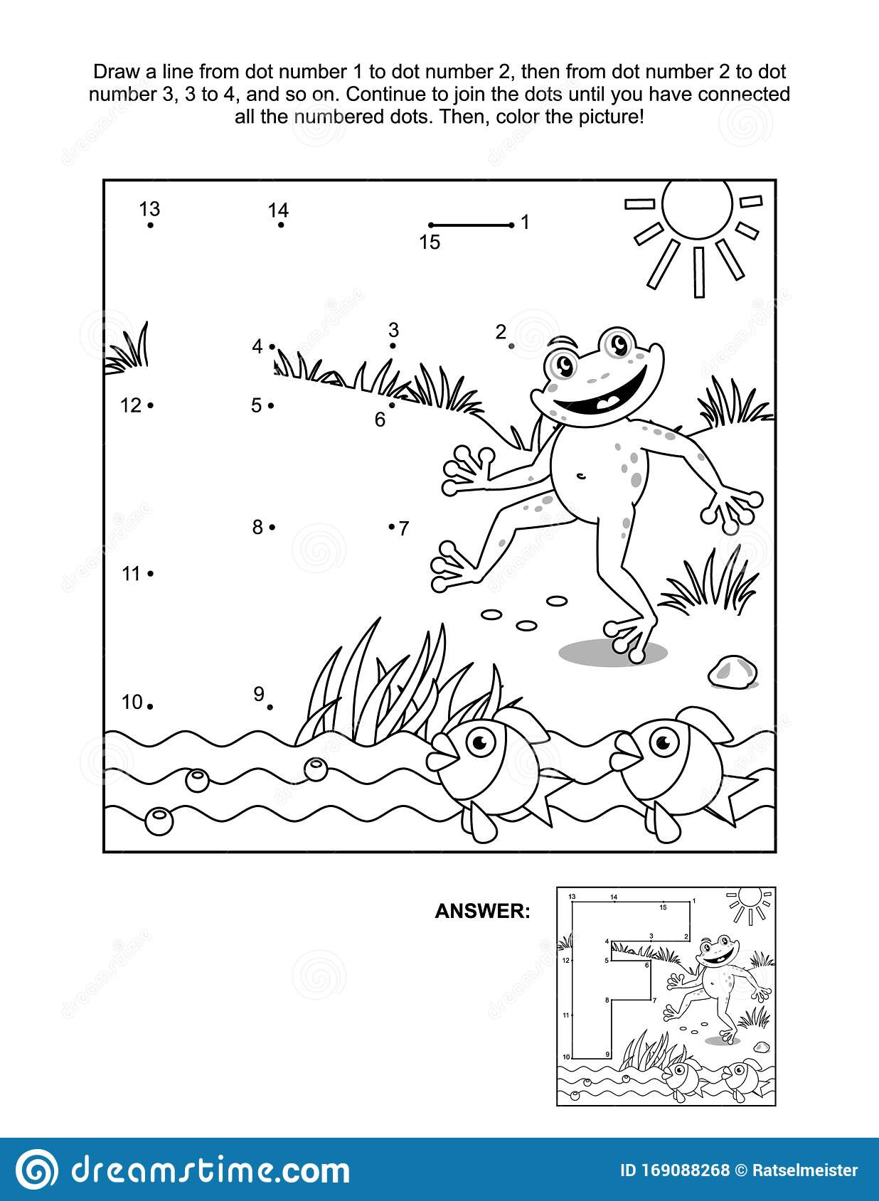 Connect the Dots Math Worksheets Connect the Dots and Coloring Page with Letter F Frog and