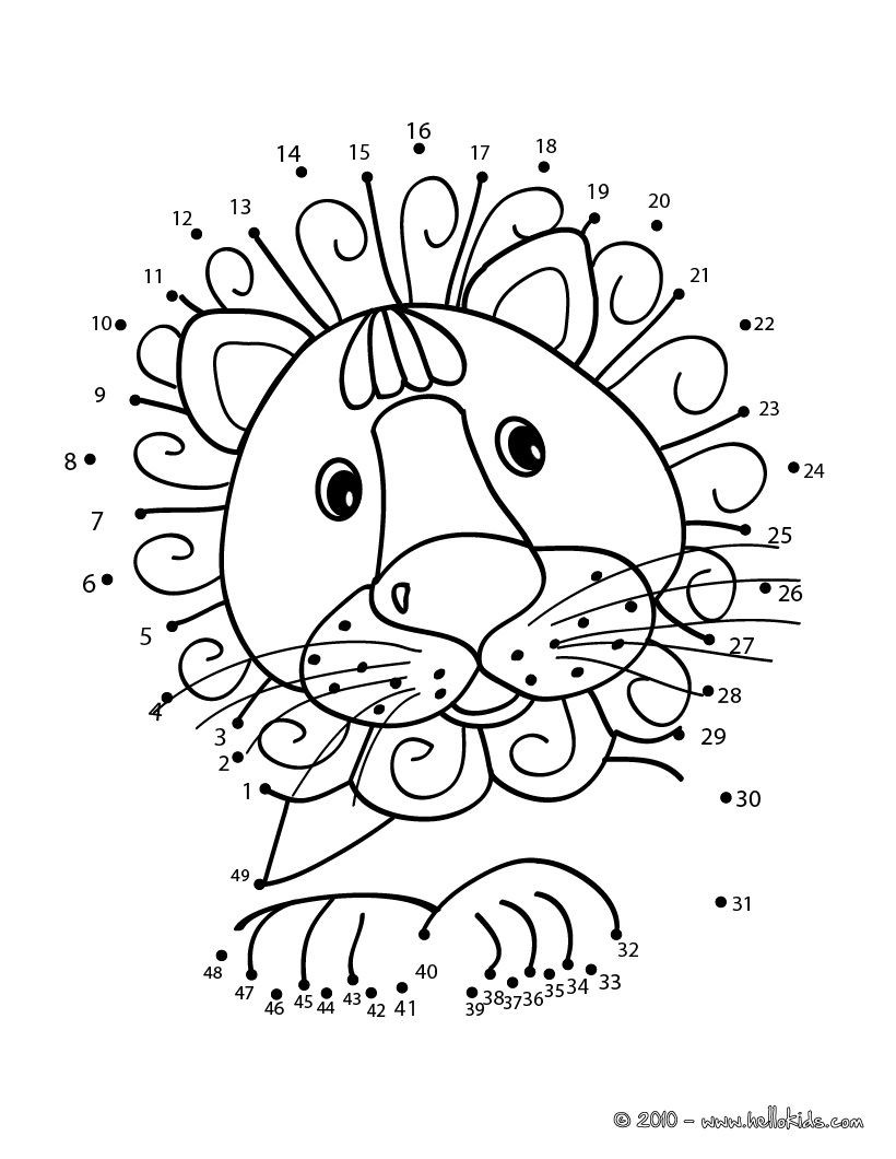 Connect the Dots Math Worksheets Lion Dot to Dot Game Printable Connect the Dots Game