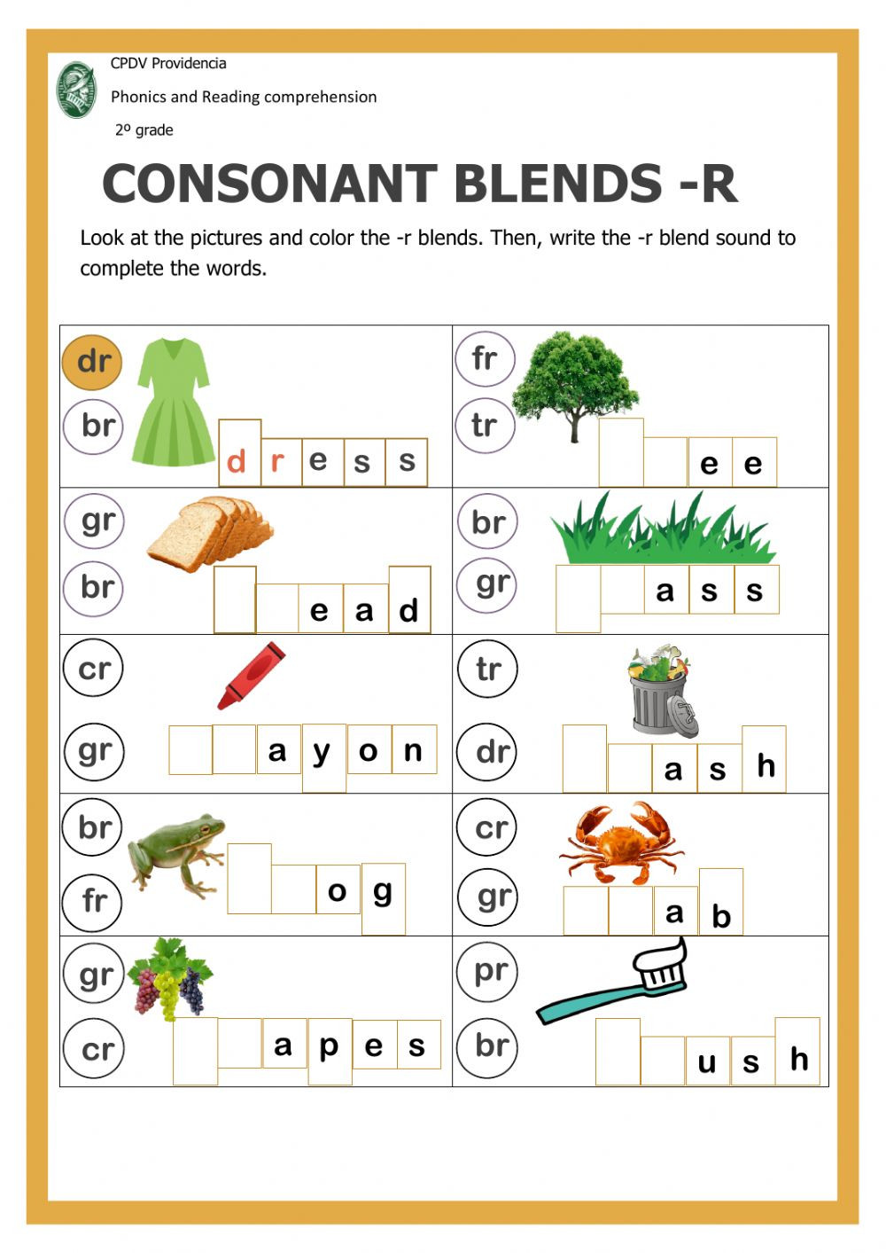 Consonant Blends Worksheets 3rd Grade Consonant Blends with R Interactive Worksheet
