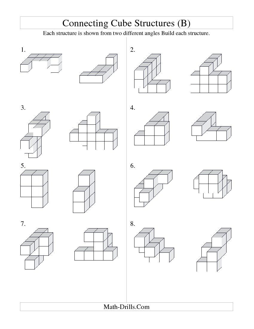 Construction Math Worksheets Building Connecting Cube Structures B Geometry Worksheet