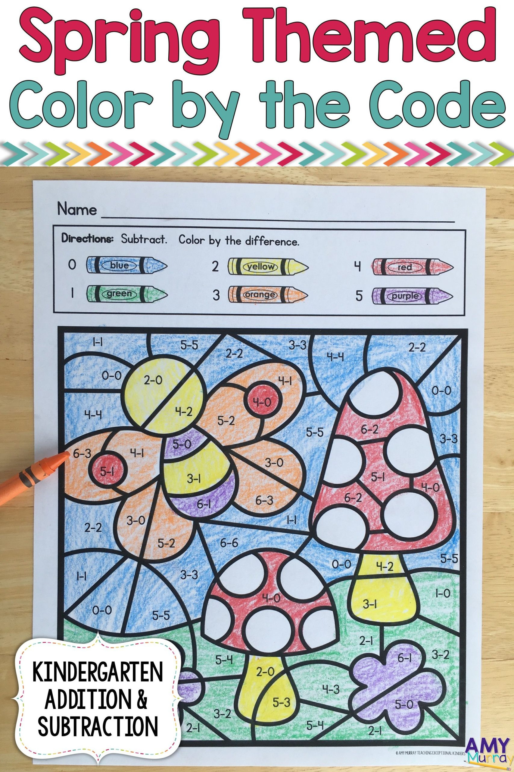 Construction Math Worksheets Math Worksheet Spring themed Color by Numberrgarten Math