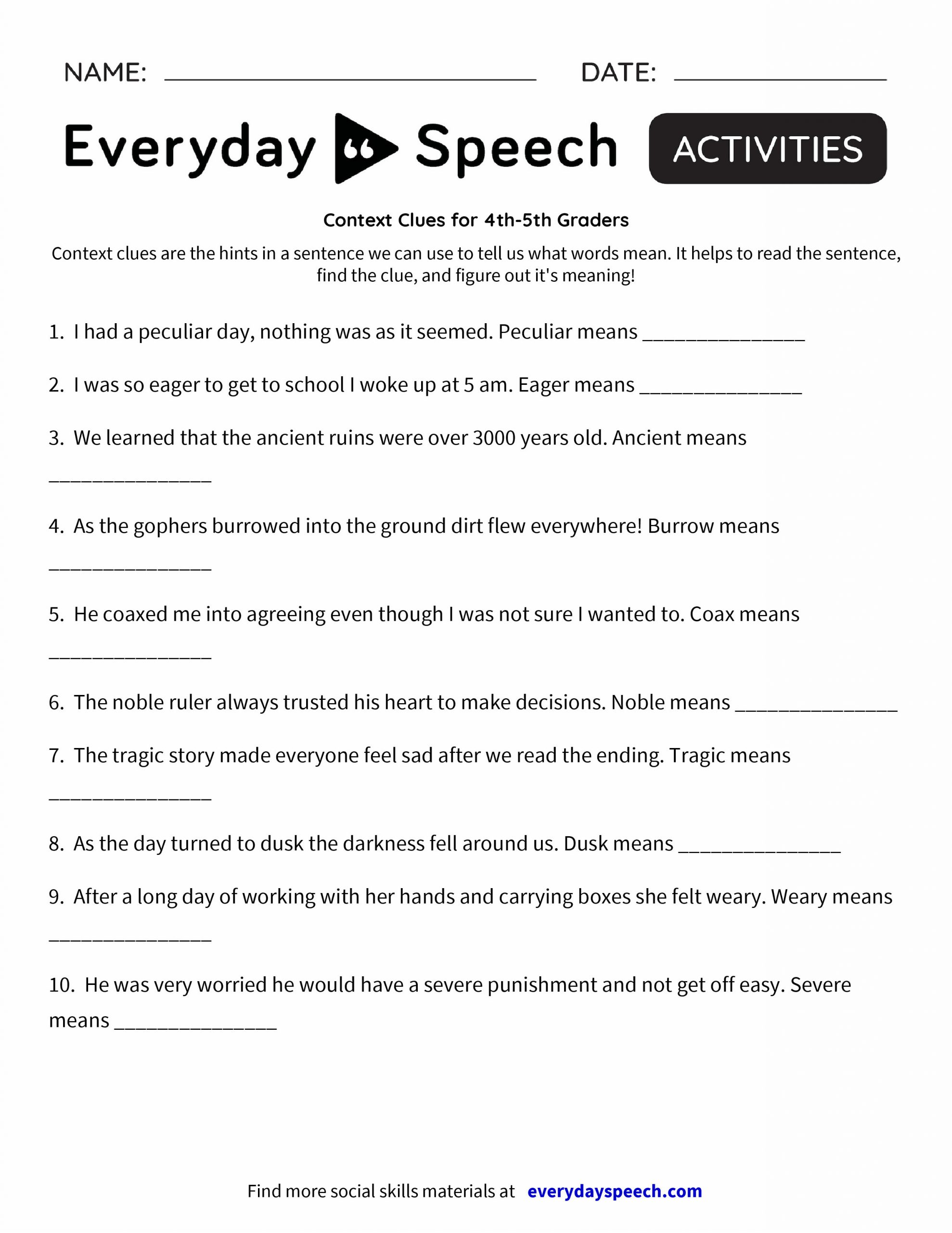 Context Clues 5th Grade Worksheets Free Context Clues Worksheets