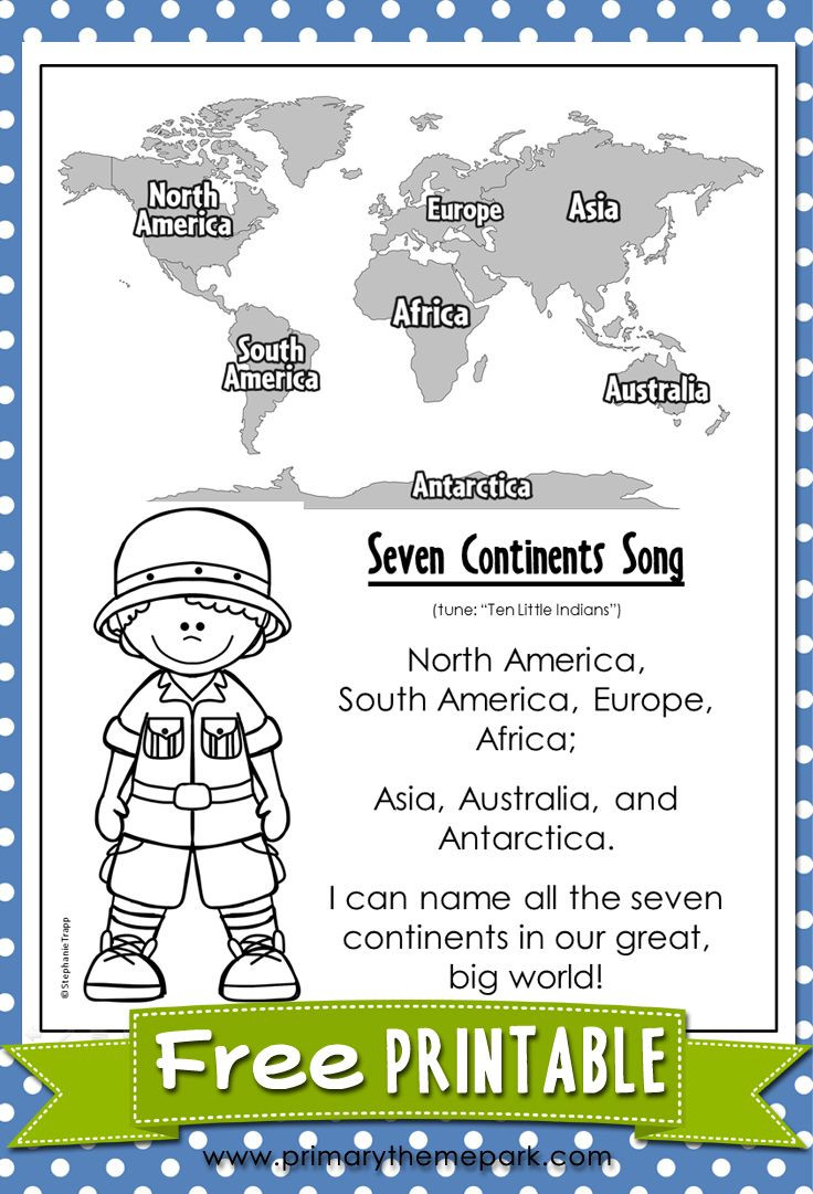 Continents and Oceans Printable Worksheets Free Worksheets for Teachers About the Continents
