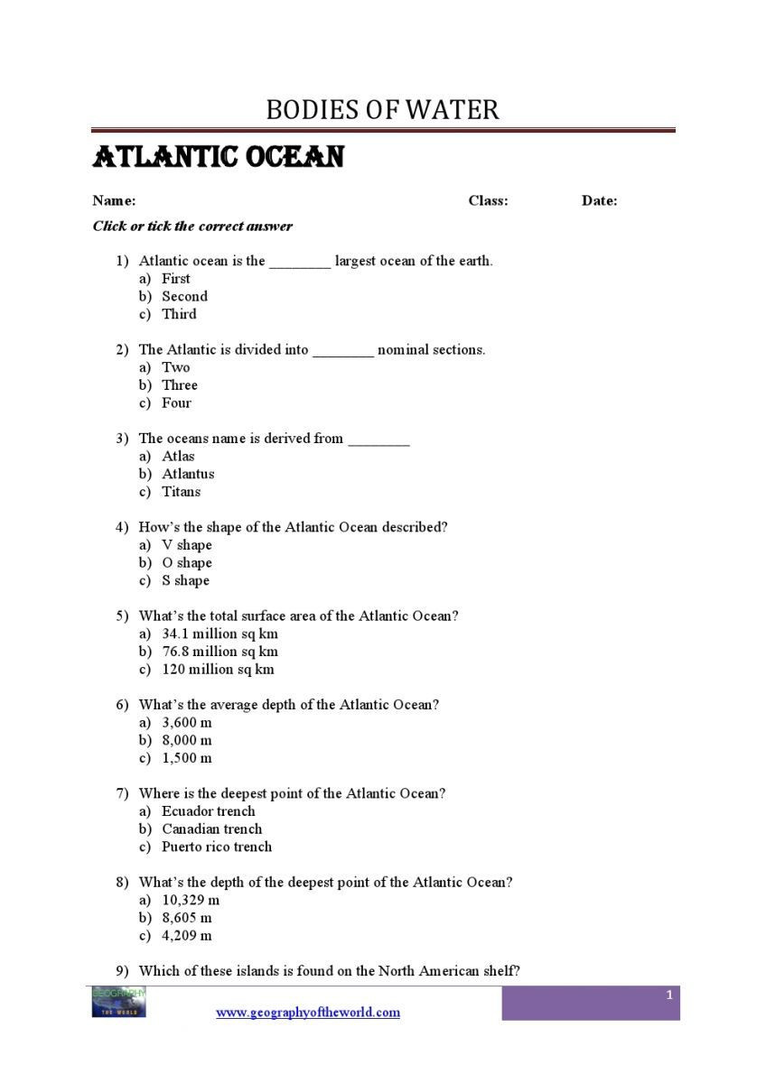 Continents and Oceans Worksheet Printable Bo S Of Water Questions and Answers Geography Printable