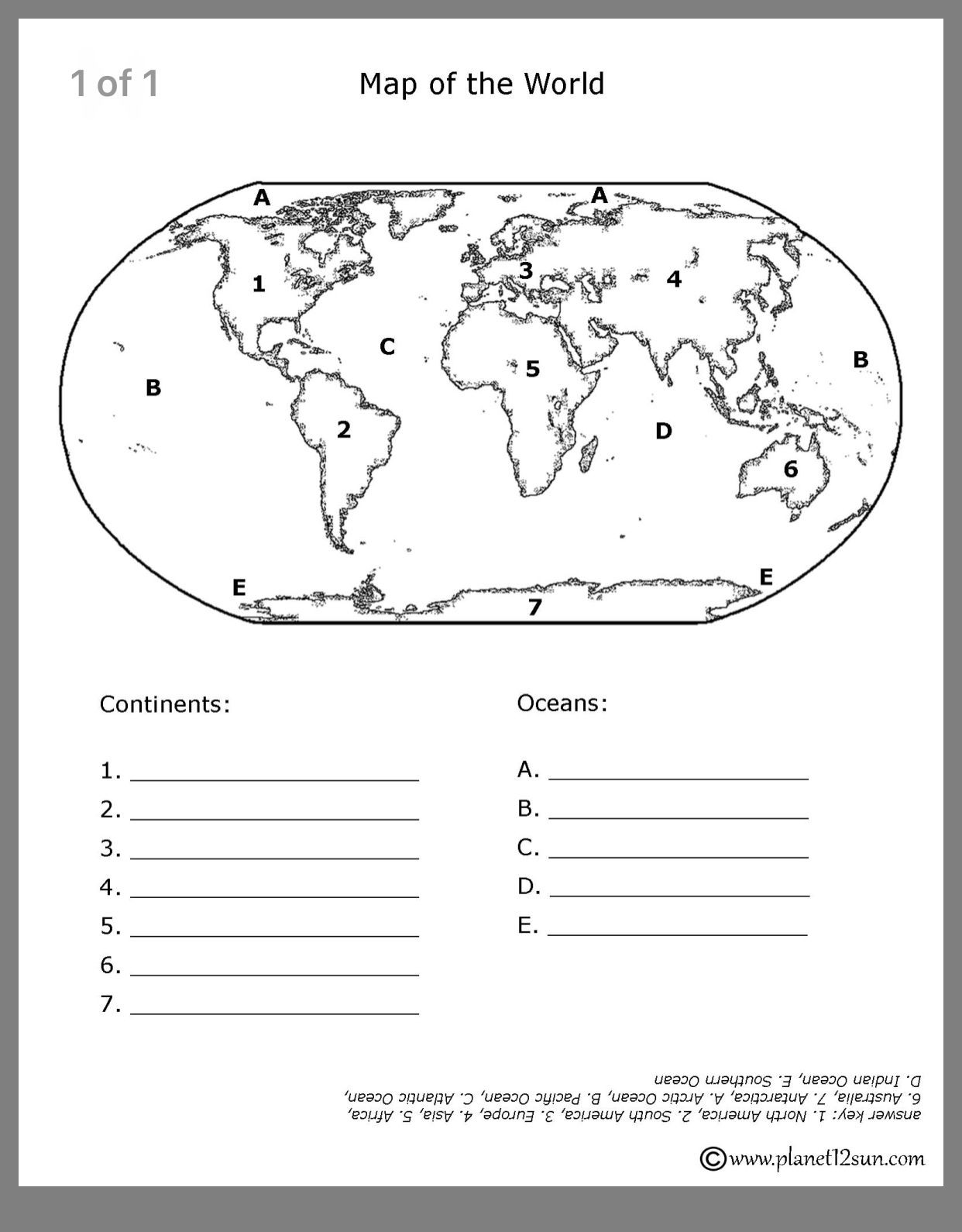 Continents and Oceans Worksheet Printable Pin by Dawn Tran On Geography for Ava with Images
