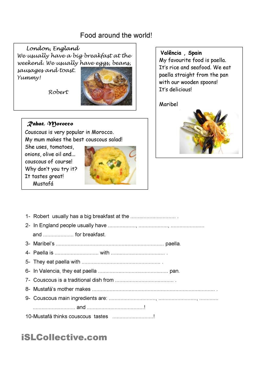 Cooking Worksheets for Middle School Food Around the World