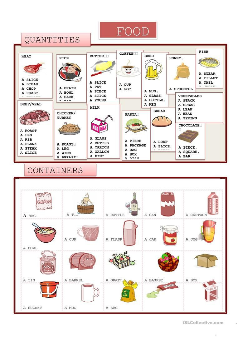 Cooking Worksheets for Middle School Food Quantity and Containers Worksheet Free Esl Printable
