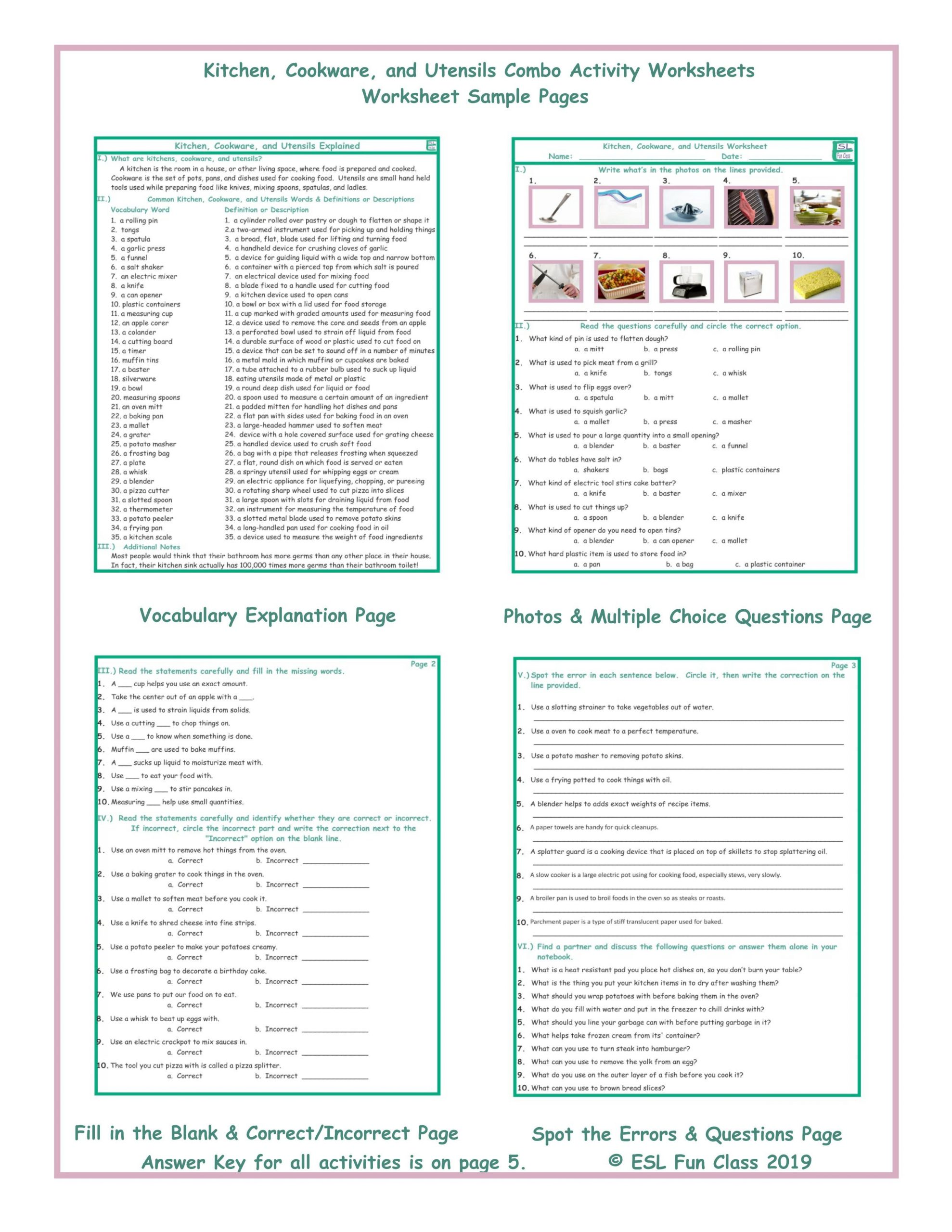 Cooking Worksheets for Middle School Kitchen Cookware and Utensils Bo Activity Worksheets