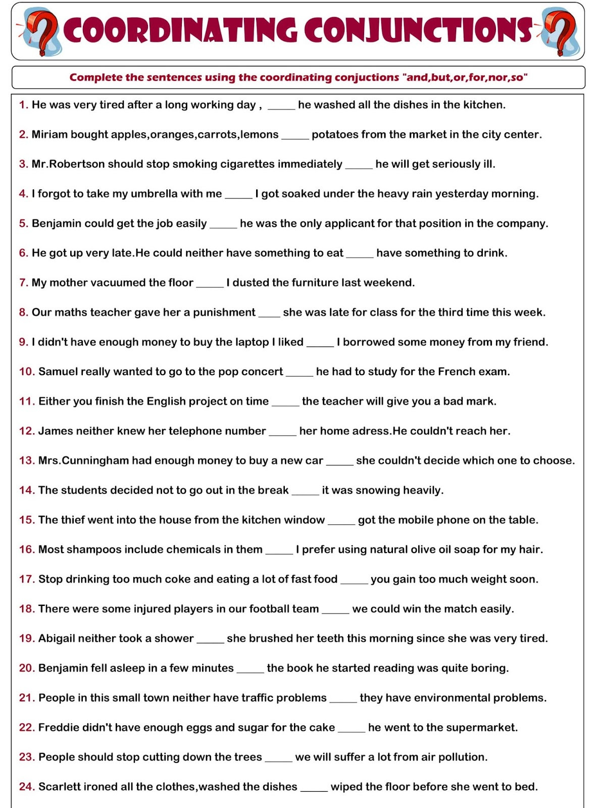 Correlative Conjunctions Worksheet 5th Grade English Grammar A to Z Conjunction Exercises