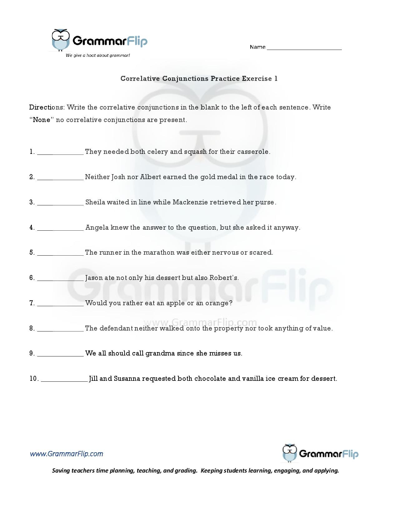 Correlative Conjunctions Worksheet 5th Grade Worksheets