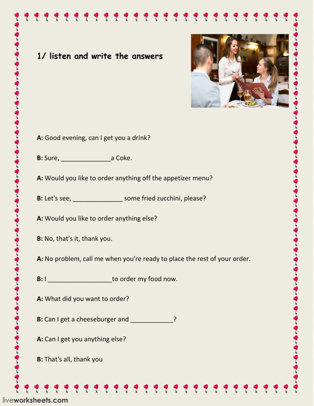 Dialogue Worksheets 3rd Grade at the Restaurant Interactive and Able Worksheet