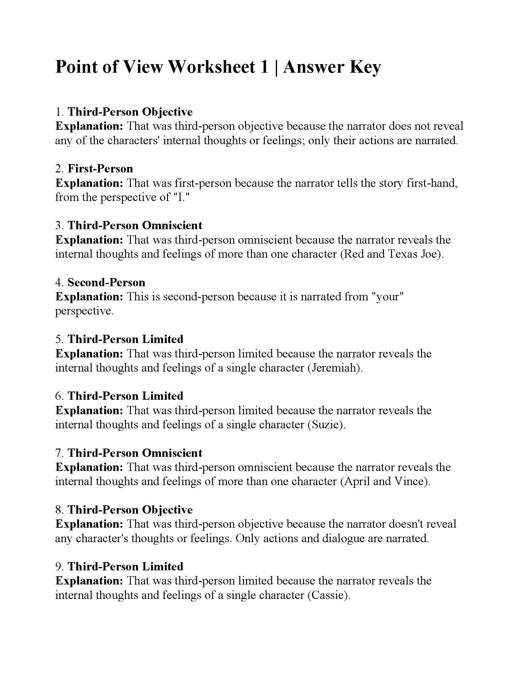 Dialogue Worksheets 3rd Grade Point Of View Worksheet 1