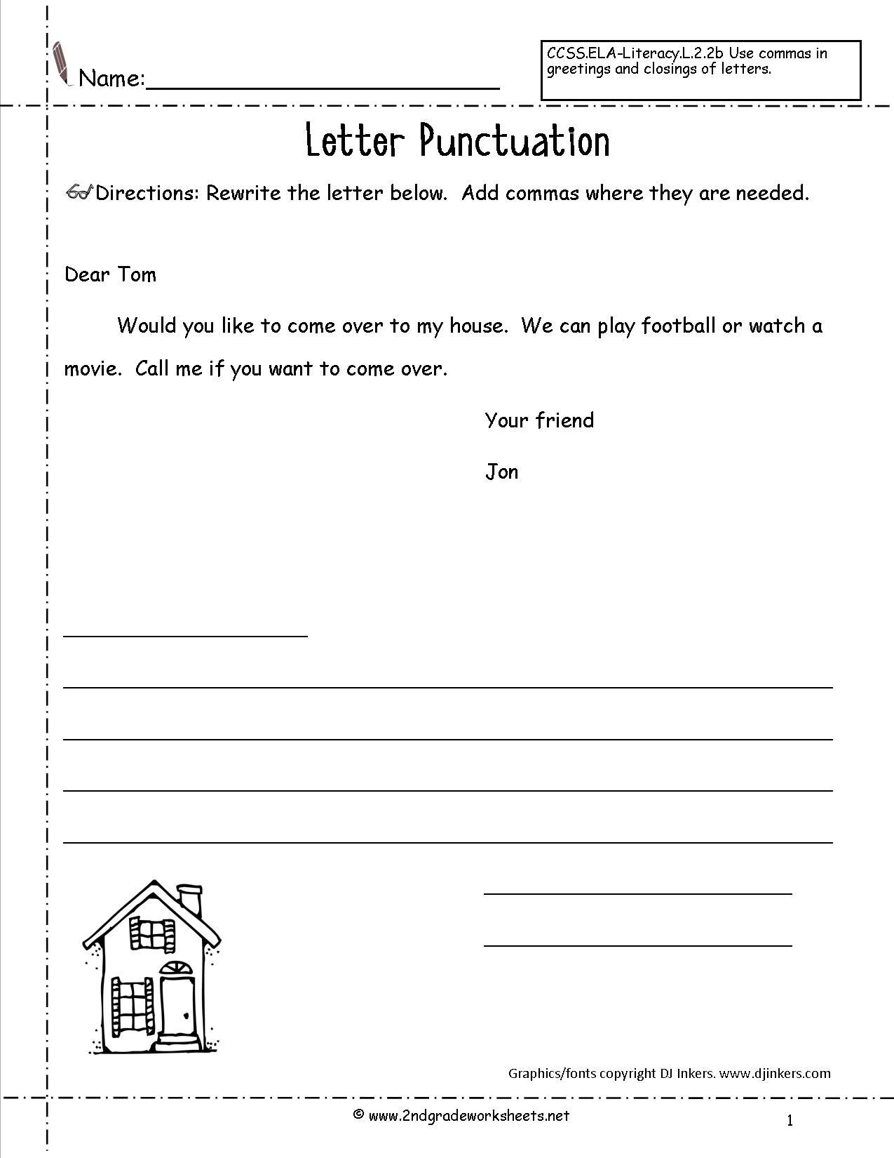 Dialogue Worksheets Middle School Letters and Parts Of A Letter Worksheet