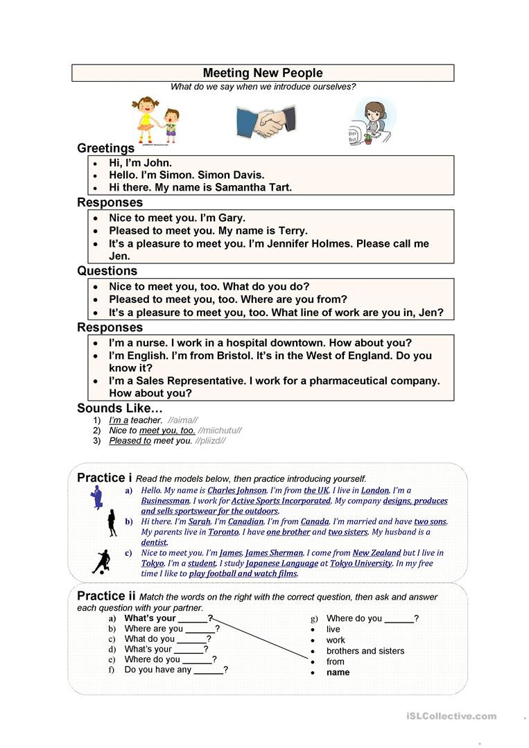 Dialogue Worksheets Middle School Meeting New People English Esl Worksheets for Distance