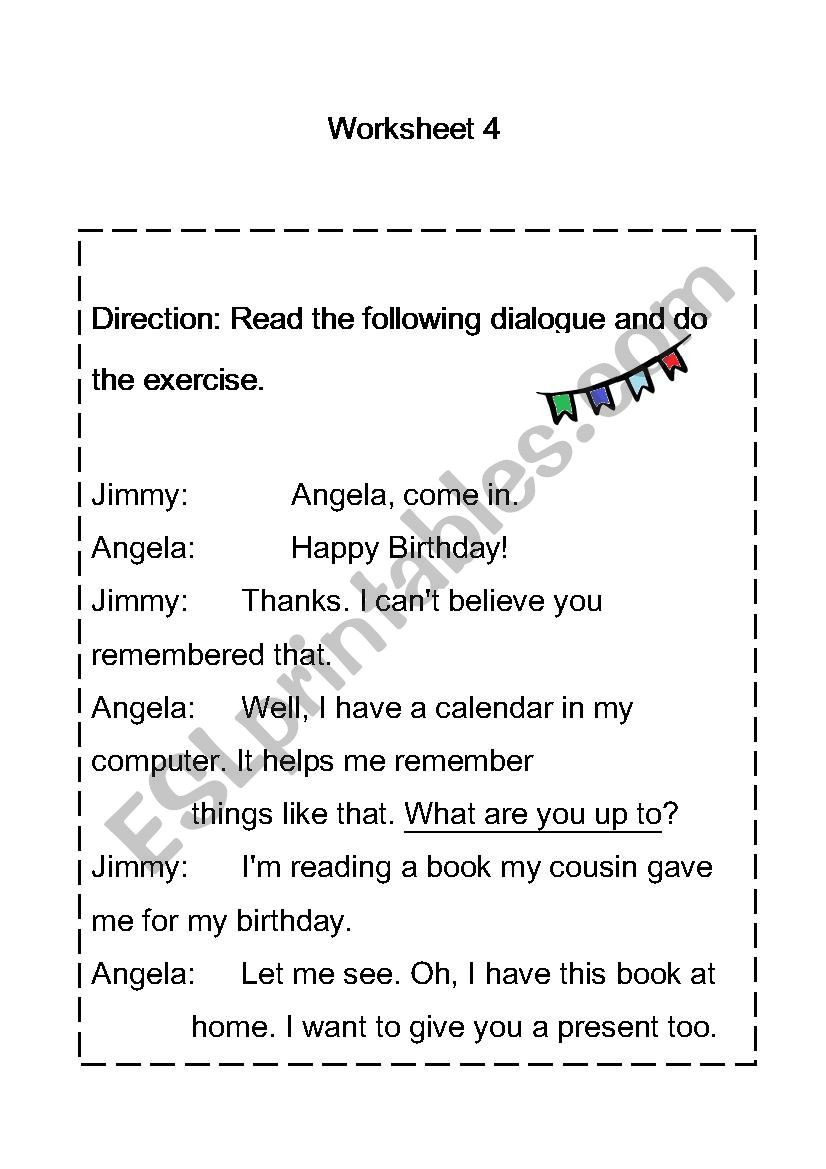 Dialogue Worksheets Middle School Reading Prehension Esl Worksheet by Oif29 Naruk