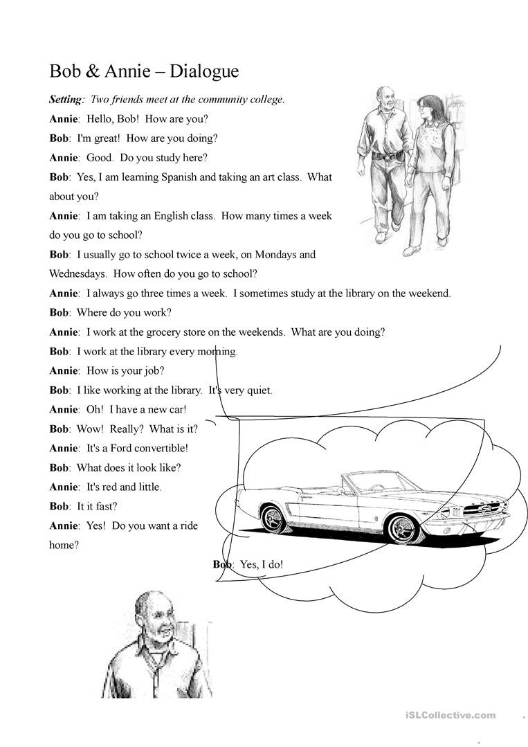 Dialogue Worksheets Middle School Two Person Dialogue Present Tense English Esl Worksheets