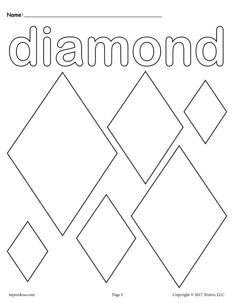 Diamond Worksheets for Preschool Diamonds Coloring Page