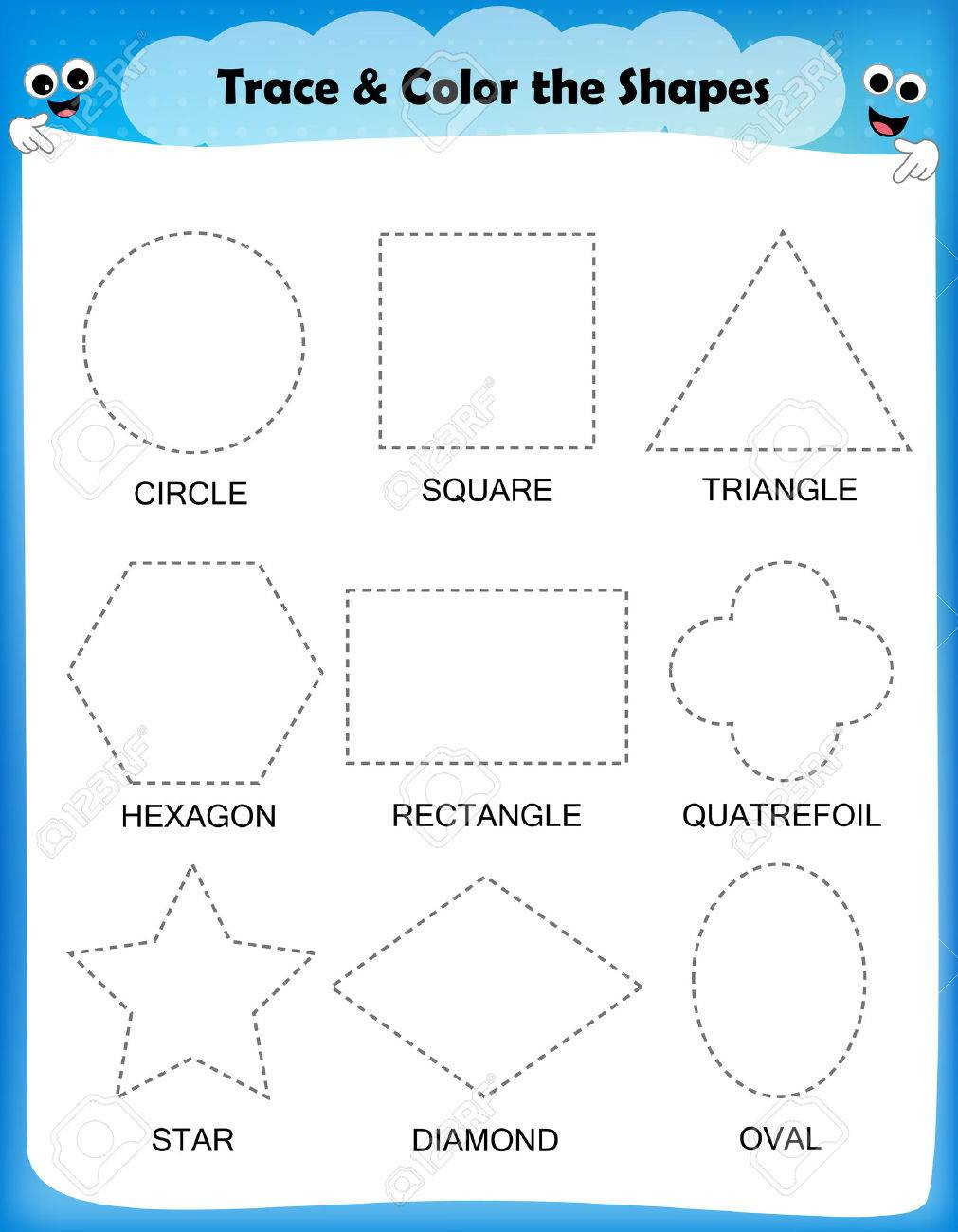 Diamond Worksheets for Preschool Preschool Worksheet Trace the Shapes and Color Basic Writing