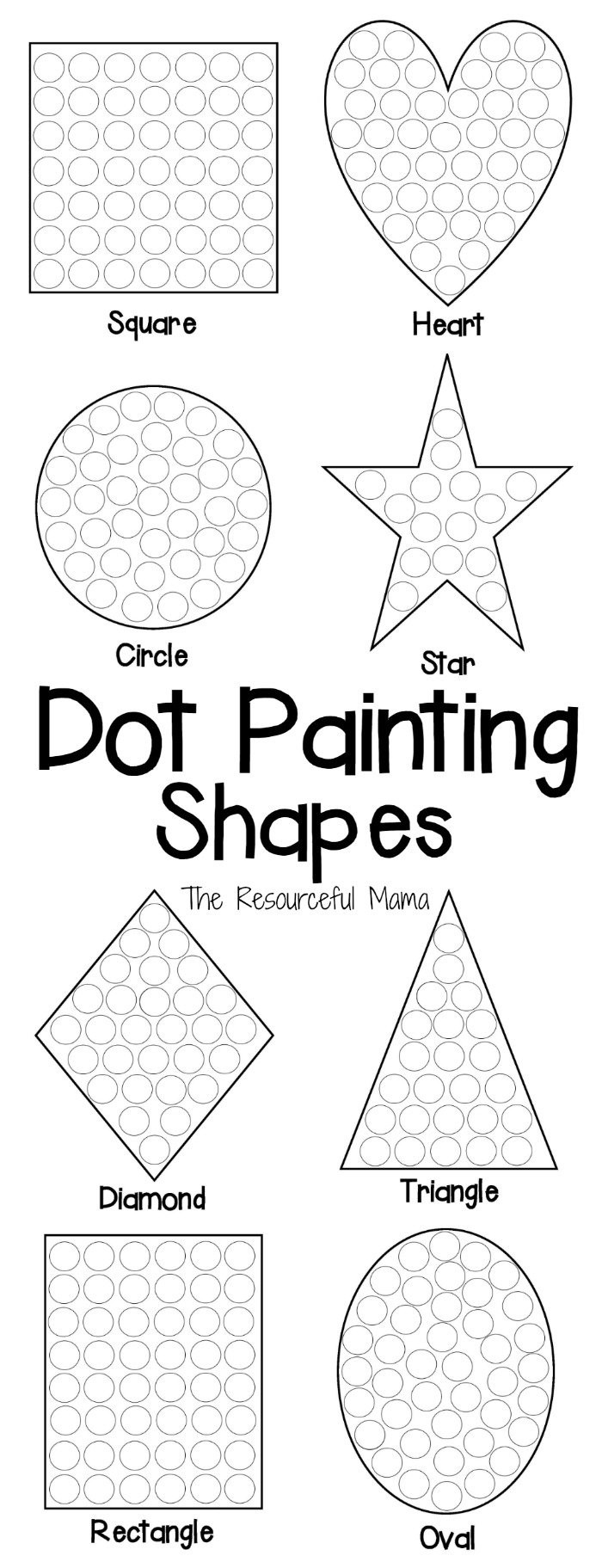 Diamond Worksheets for Preschool Shapes Dot Painting Free Printable the Resourceful Mama