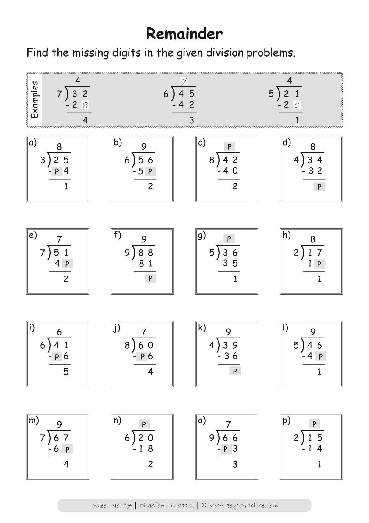 Division Worksheets for Grade 2 Division Worksheets Grade 2 I Maths Key2practice Workbooks