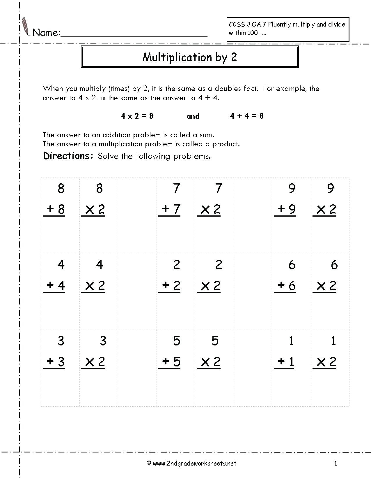 Doubles Math Fact Worksheets Number Worksheets Preschool Printable and