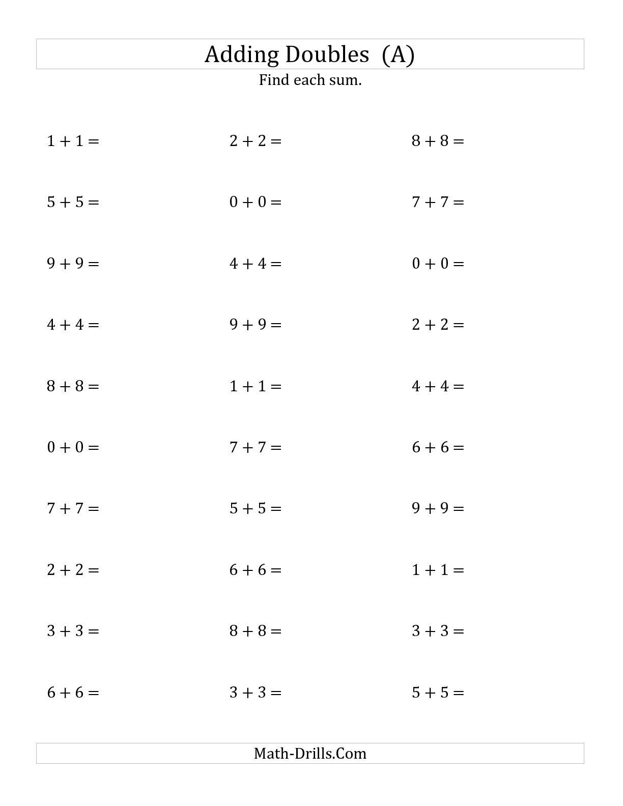 Doubles Math Fact Worksheets the Adding Doubles Small Numbers A Math Worksheet From