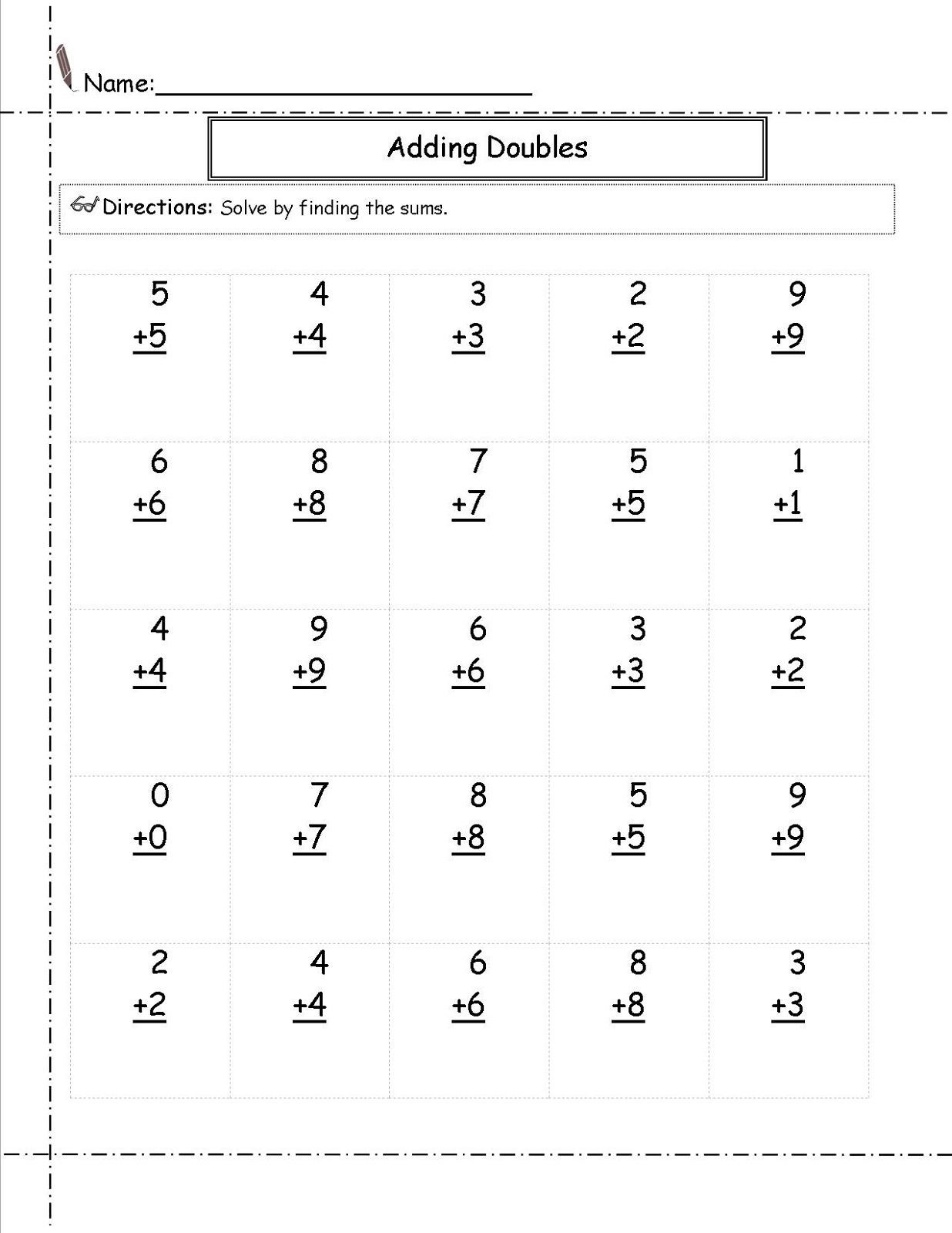 Doubles Math Worksheets Free Addition Worksheets for Math Practice