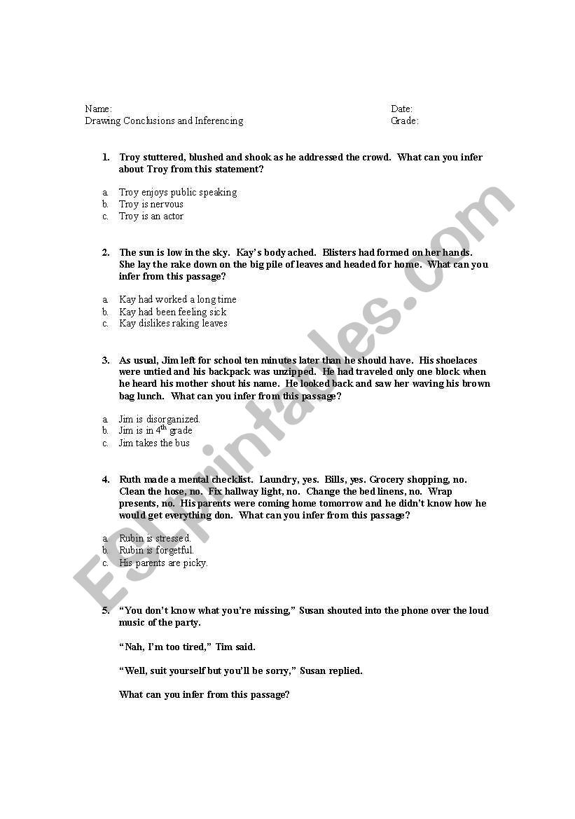 Drawing Conclusions Worksheets 4th Grade Drawing Conclusions Inferencing Esl Worksheet by Sallystay
