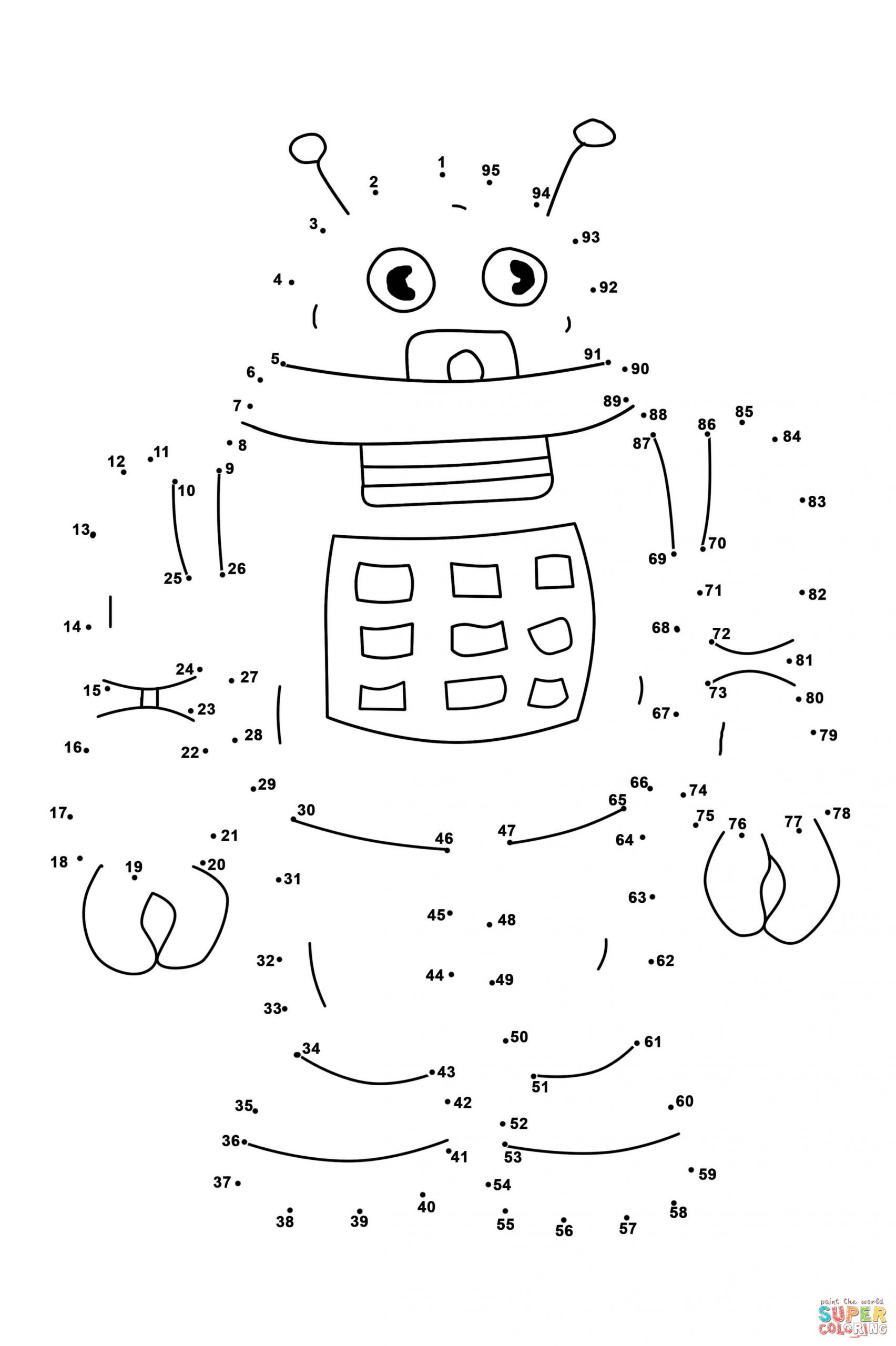 Easy Connect the Dots Printables Connect the Dots Coloring Pages Robot Dot to Free Printable