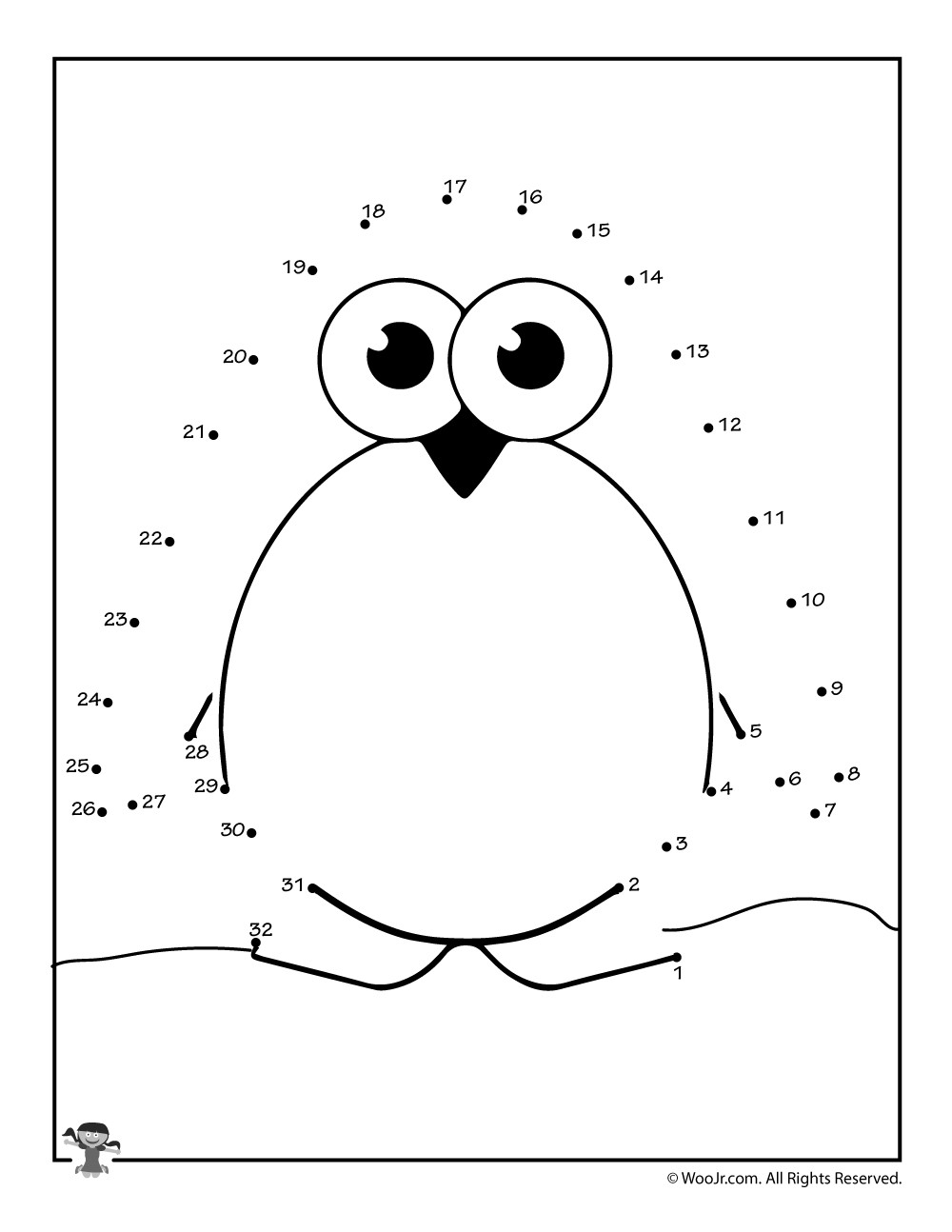 Easy Connect the Dots Printables Cute Penguin Connect the Dots