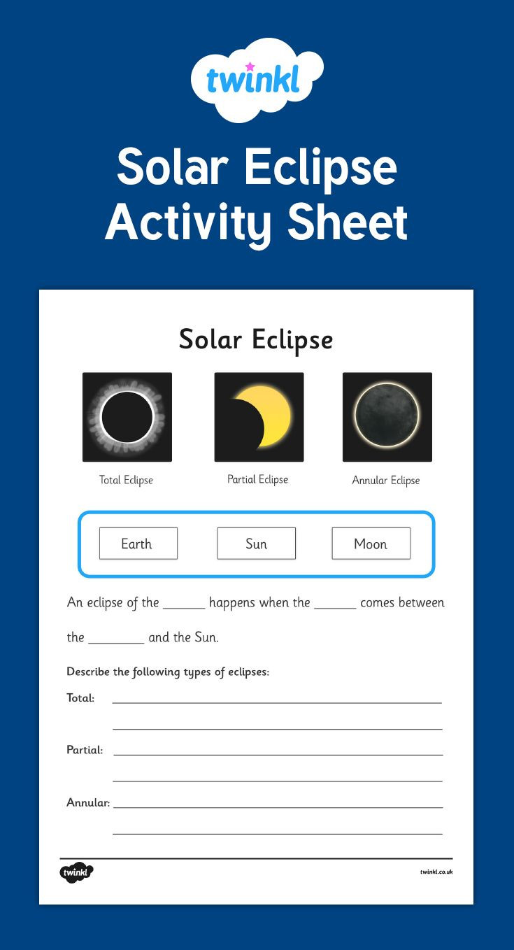 Eclipse Worksheets for Middle School This solar Eclipse Activity Sheet Gives Your Children the